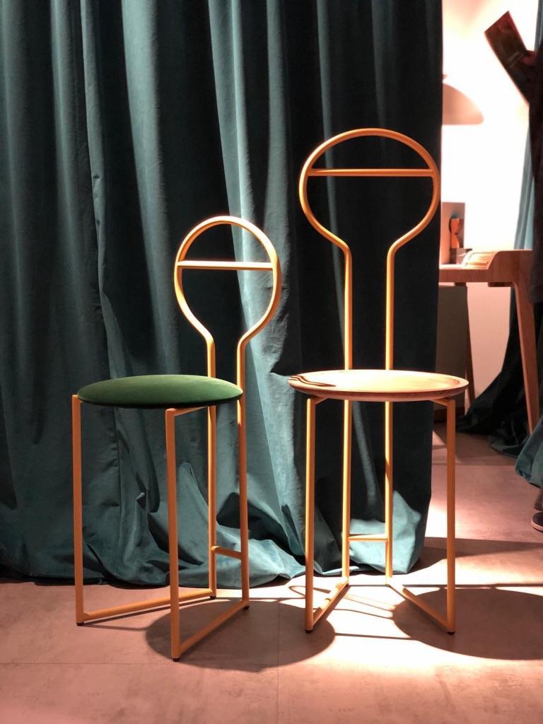 Joly Chairdrobe, High Back, Gold Structure, Tiffany Blue Fine Italian Velvet For Sale 12