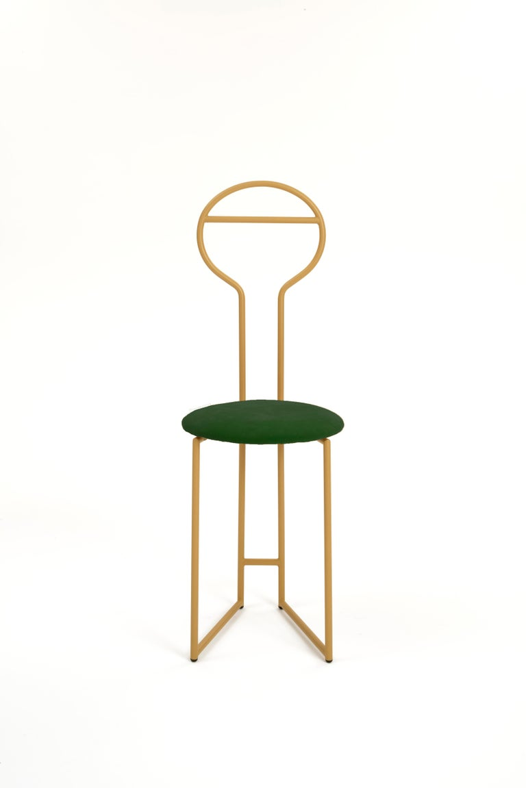 Joly Chairdrobe, High Back, Gold Structure, Tiffany Blue Fine Italian Velvet In New Condition For Sale In Milan, Lombardy