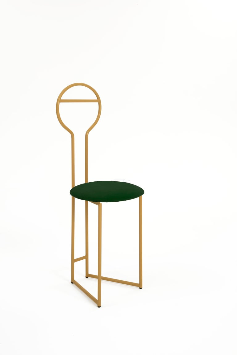 Contemporary Joly Chairdrobe, High Back, Gold Structure, Tiffany Blue Fine Italian Velvet For Sale