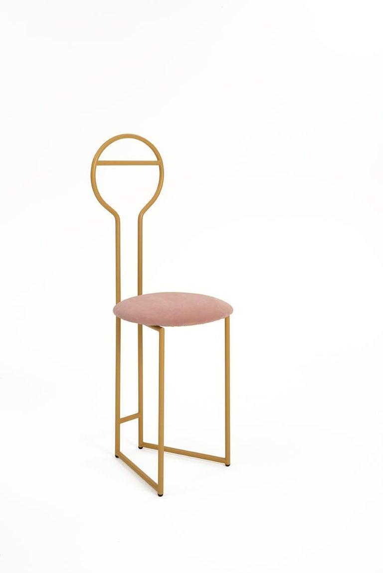 Joly Chairdrobe, High Back, Gold Structure, Tiffany Blue Fine Italian Velvet For Sale 1