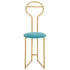 Joly Chairdrobe, High Back, Gold Structure, Tiffany Blue Fine Italian Velvet