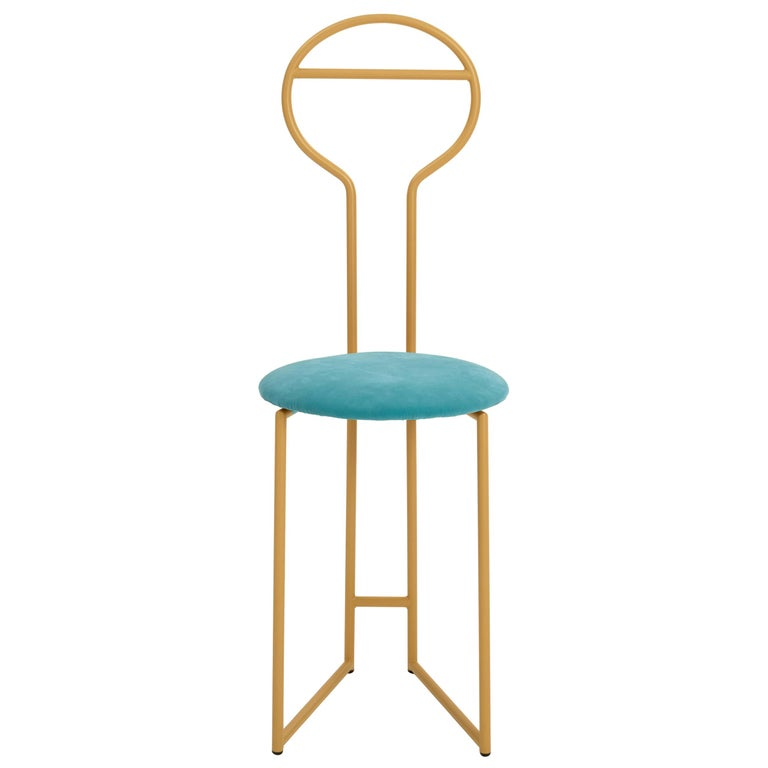 Joly Chairdrobe, High Back, Gold Structure, Tiffany Blue Fine Italian Velvet For Sale