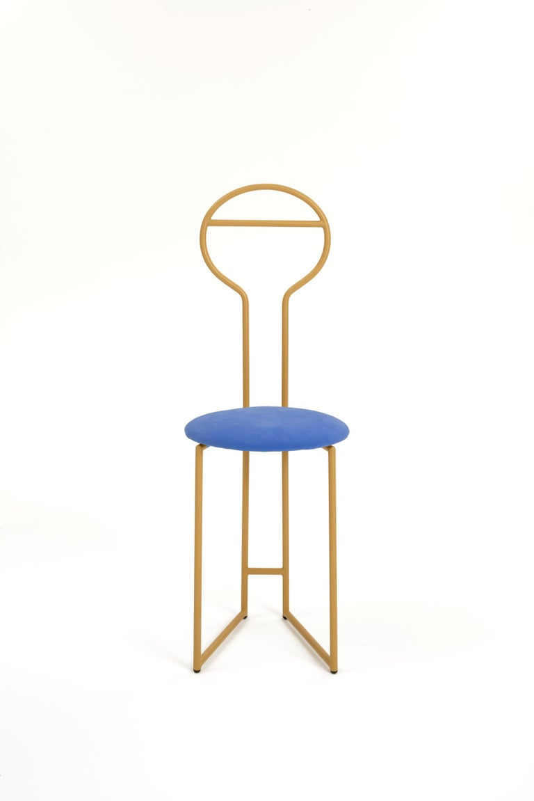 Joly Chairdrobe, Low Back, Black Structure and Blue Fine Italian Velvet For Sale 4