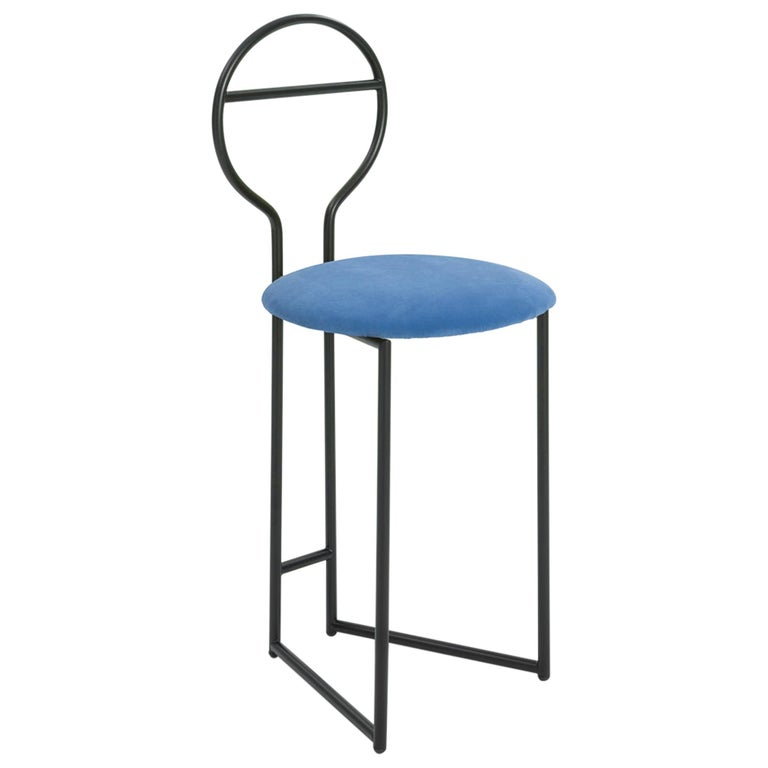 Joly Chairdrobe, Low Back, Black Structure and Blue Fine Italian Velvet For Sale