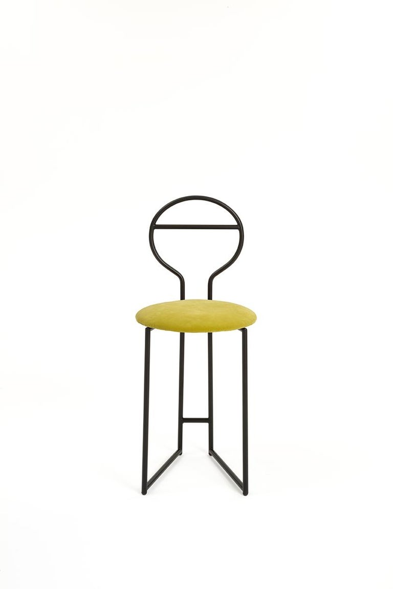 Joly Green Velvet Chair and Silent Butler, High Back, Gold Steel and Fabric For Sale 5