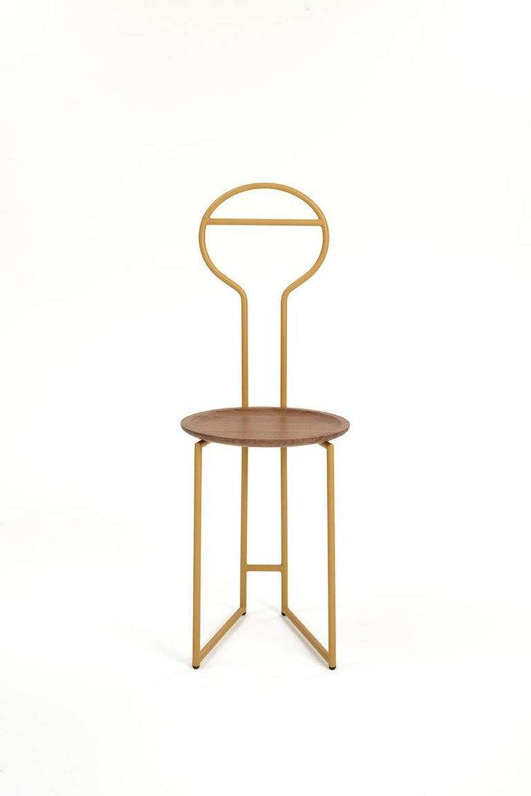 Modern Joly Green Velvet Chair and Silent Butler, High Back, Gold Steel and Fabric For Sale