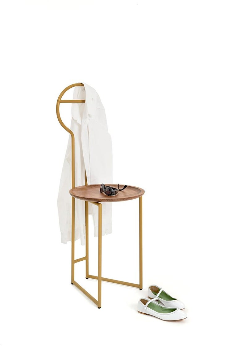 European Joly Green Velvet Chair and Silent Butler, High Back, Gold Steel and Fabric For Sale