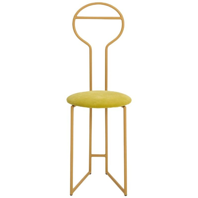 Joly Green Velvet Chair and Silent Butler, High Back, Gold Steel and Fabric For Sale