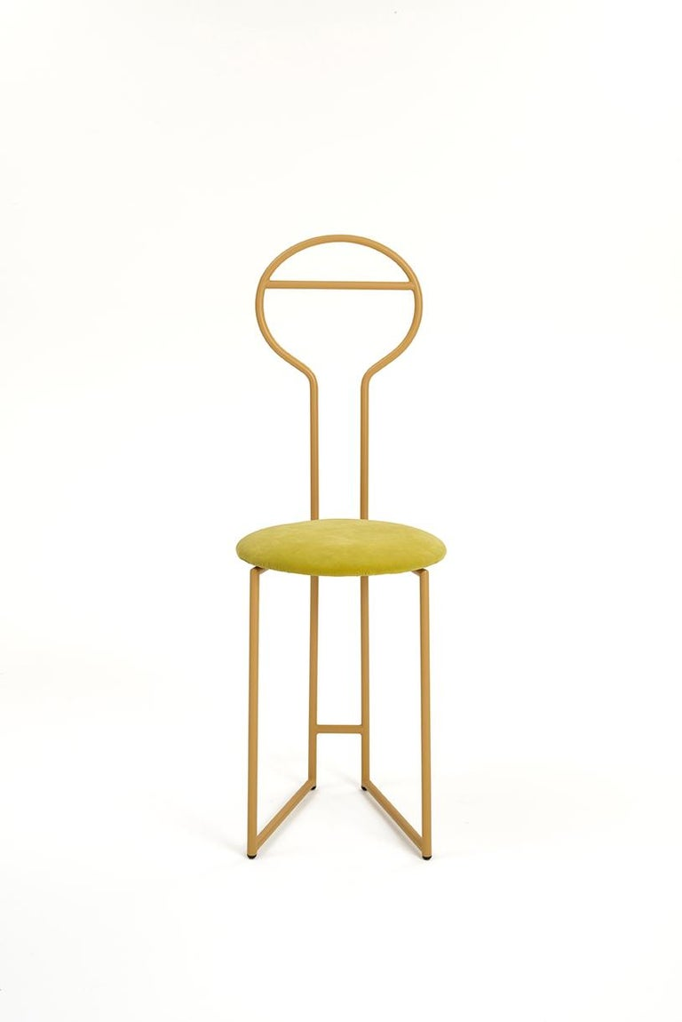 Modern Joly Green Velvet Chair and Silent Butler, Low Back; Black Steel and Fabric For Sale