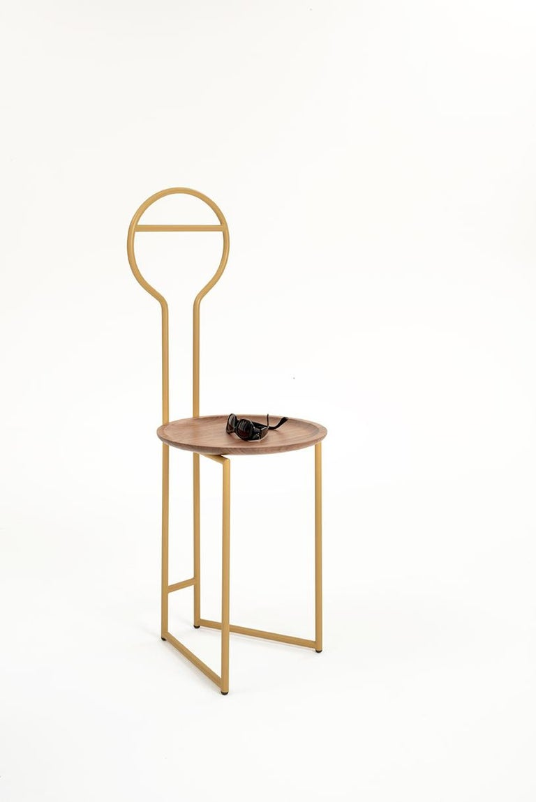 Modern Joly Silent Butler, Chair, High Back, Gold Steel Structure and Walnut Plate For Sale