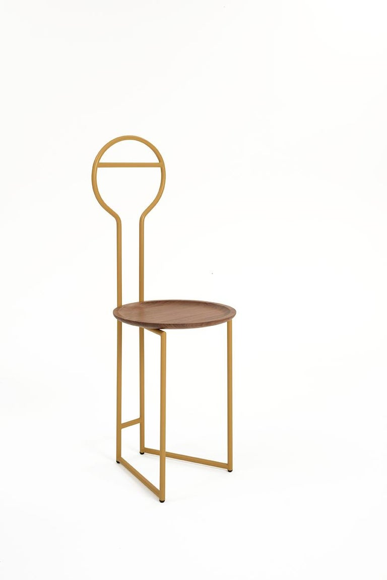European Joly Silent Butler, Chair, High Back, Gold Steel Structure and Walnut Plate For Sale