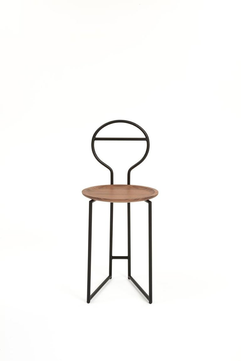 Contemporary Joly Silent Butler, Chair, High Back, Gold Steel Structure and Walnut Plate For Sale