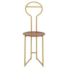 Joly Silent Butler, Chair, High Back, Gold Steel Structure and Walnut Plate