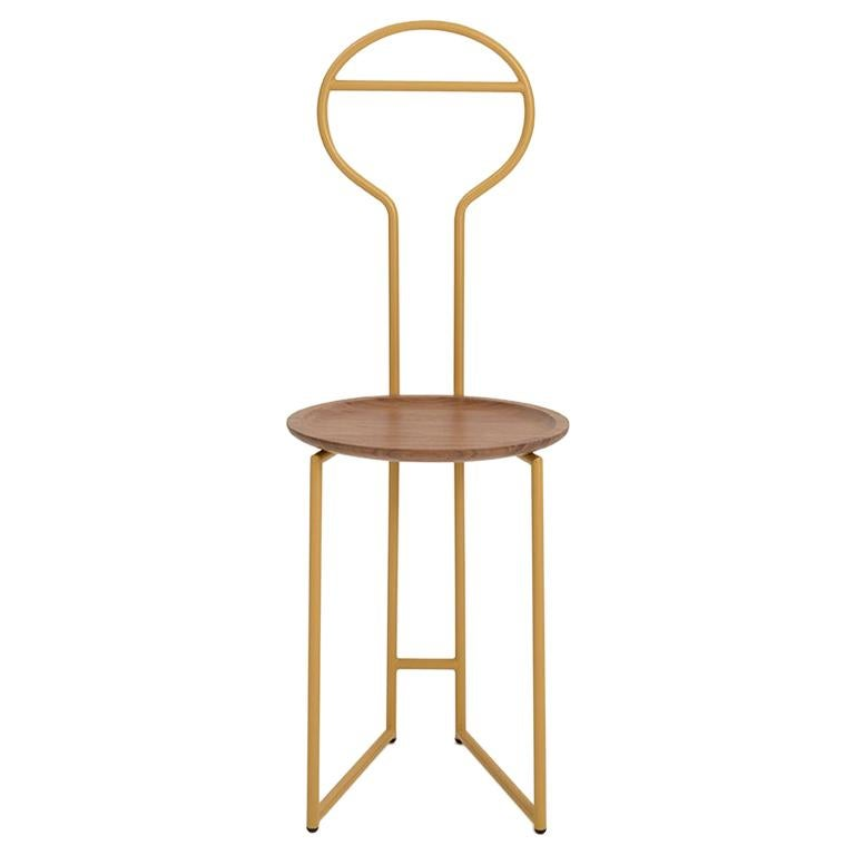 Joly Silent Butler, Chair, High Back, Gold Steel Structure and Walnut Plate For Sale