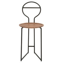 Joly Silent Butler, Chair, Low Back; Black Steel Structure and Walnut Plate
