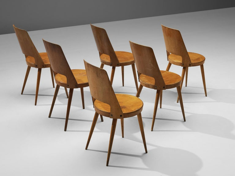 Mid-Century Modern Jomaine Baumann 'Mondor' Dining Chairs in Plywood For Sale