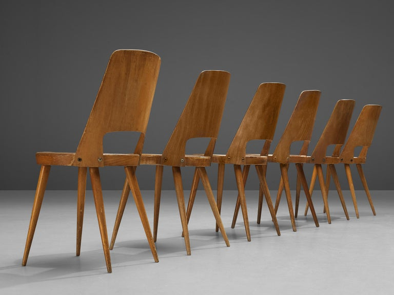 French Jomaine Baumann 'Mondor' Dining Chairs in Plywood For Sale