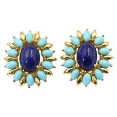 Jomaz Costume Turquoise and Lapis Lazuli Gold Tone Clip Earrings