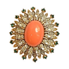 Jomaz Gold, Coral Cabochon with Green & Clear Rhinestone Domed Brooch