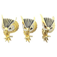 Jomaz Jeweled Black Enamel Gold Tone Owl Brooches Set of 3