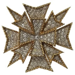 """Jomaz"" Maltese Cross Brooch with Rhinestones in Excellent Vintage Condition"