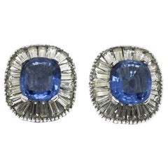 Jomaz Vintage Deco Style Blue & White Crystal Earrings 1940s