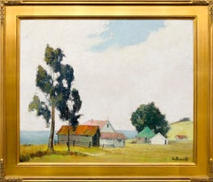 California Farm House, Vintage 1950s Painting, Red-Roofed Buildings, Trees & Sky
