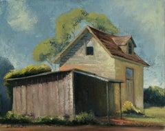 East Santa Cruz (California), Framed Landscape Painting with Yellow Farm House