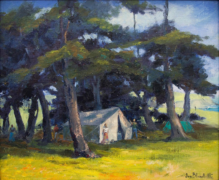 Mendocino Hippies (Northern California Landscape with Tents in a Grove of Trees) - Painting by Jon Blanchette