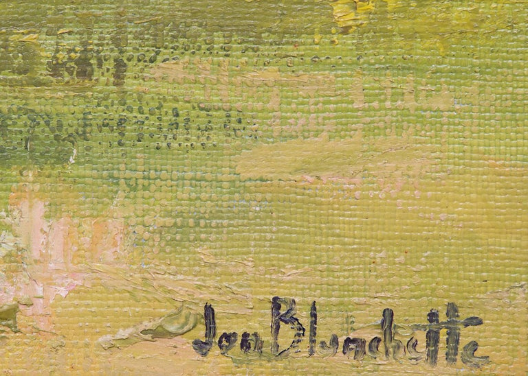 Mendocino Hippies (Northern California Landscape with Tents in a Grove of Trees) - Impressionist Painting by Jon Blanchette