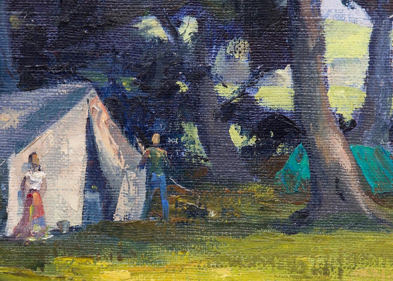 Mendocino Hippies (Northern California Landscape with Tents in a Grove of Trees) - Black Figurative Painting by Jon Blanchette
