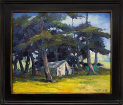 Mendocino Hippies (Northern California Landscape with Tents in a Grove of Trees)