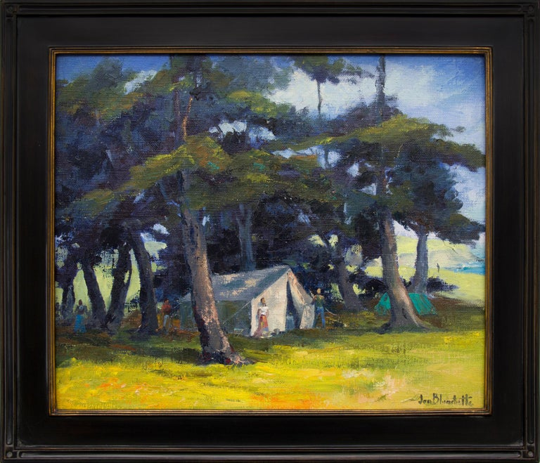 Jon Blanchette Figurative Painting - Mendocino Hippies (Northern California Landscape with Tents in a Grove of Trees)