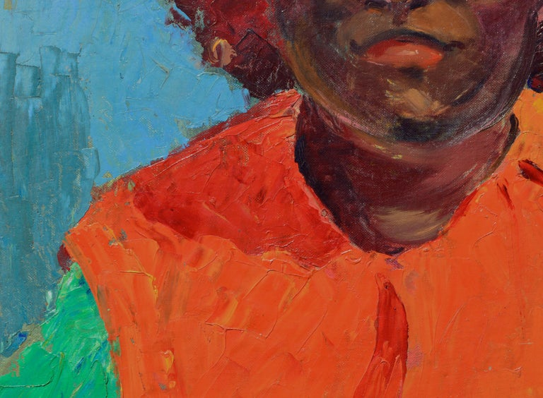 Portrait of an African American Woman 1967 - Brown Portrait Painting by Jon Blanchette