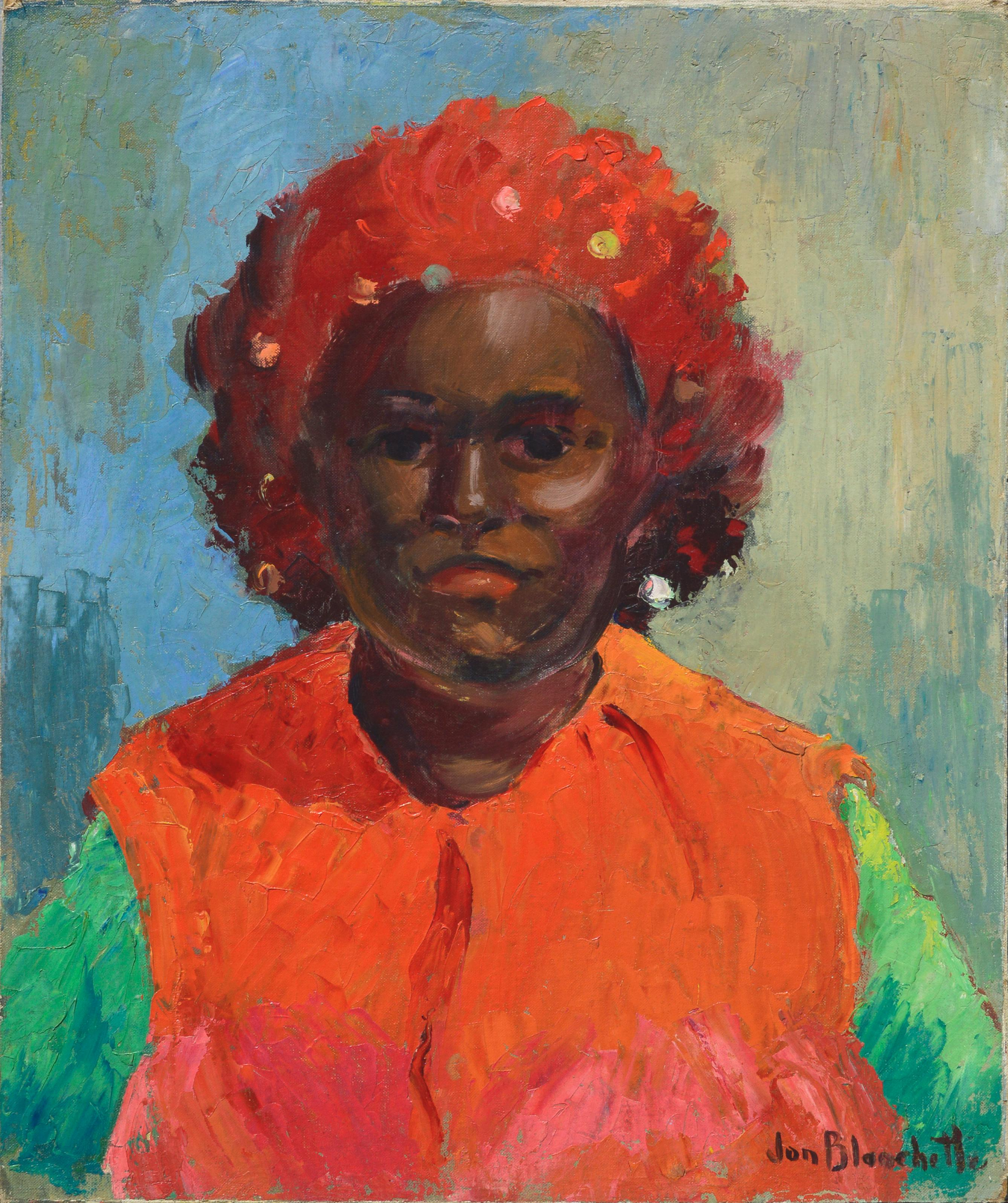 Mid Century Portrait of Woman in Red Hat