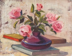 Impressionist oil, 'Still Life of Pink Roses'
