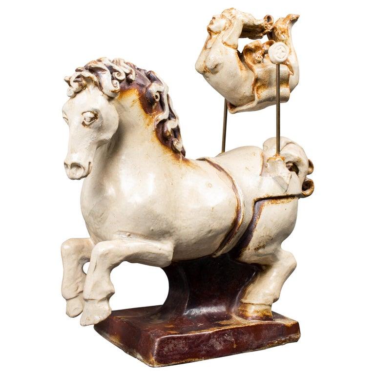 "Jon Carlos Lopez ""High Flyer"" Art Ceramic Acrobat Sculpture For Sale"