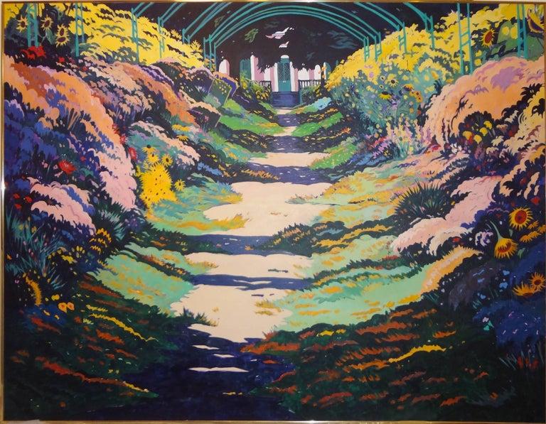 Jon Carsman Landscape Painting - Giverny Gardens (Monet's Garden), Monumental Painting