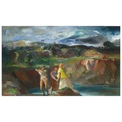 Jon Corbino Original Oil on Canvas, Bathers at Quarry