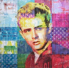 """""""American Rebel"""" Mixed Media James Dean Collage Composition on Panel Board"""