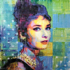 """""""Audrey In Black"""" Mixed Media Figurative Collage Composition on Panel Board"""