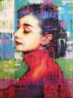 """""""Audrey In Red"""" Mixed Media Figurative Collage Composition on Panel Board"""