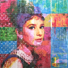 """""""Audrey with Stars"""" Mixed Media Audrey Hepburn Portrait on Panel Board"""