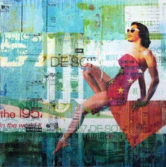 """""""In The Deep End"""" Mixed Media Figurative Collage Composition on Panel Board"""