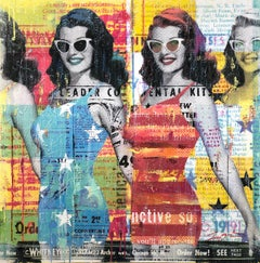 """""""Picture Perfect"""" Mixed Media Figurative Collage Composition on Panel Board"""