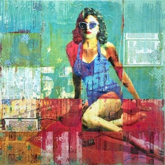 """""""Poolside"""" Mixed Media Figurative Collage Composition on Panel Board"""