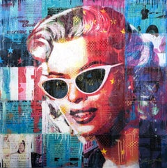 """""""The Girl Can't Help"""" Mixed Media Figurative Collage Composition on Panel Board"""