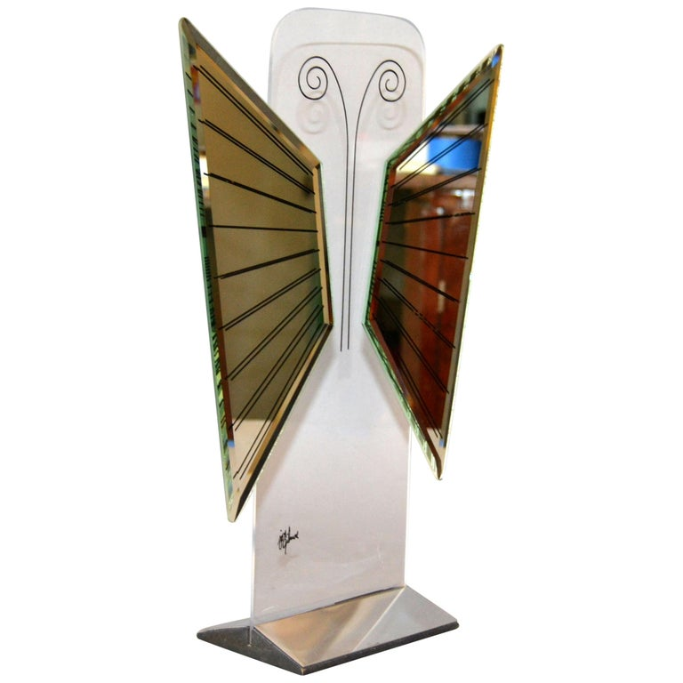 Jon Gilmore Mid-Century Modern Art Mirror in Chrome and Lucite Shaped Butterfly For Sale