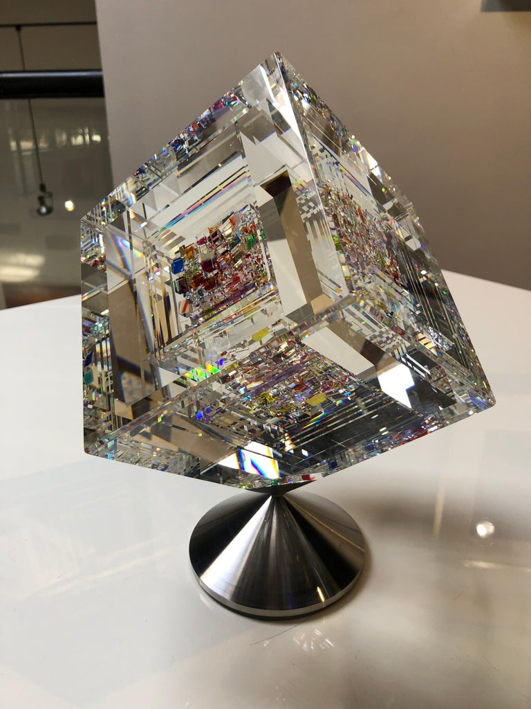 """Jon Kuhn Abstract Sculpture - """"Dancing Beauty"""", Hand cut, fused and polished optical glass sculpture"""