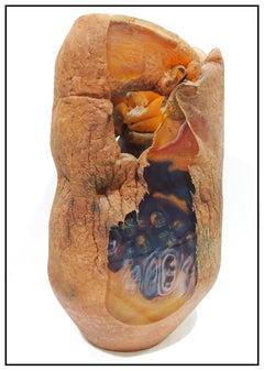 Jon Kuhn Original Blown Glass Sculpture Vase Signed Modern Artwork John Cube SBO